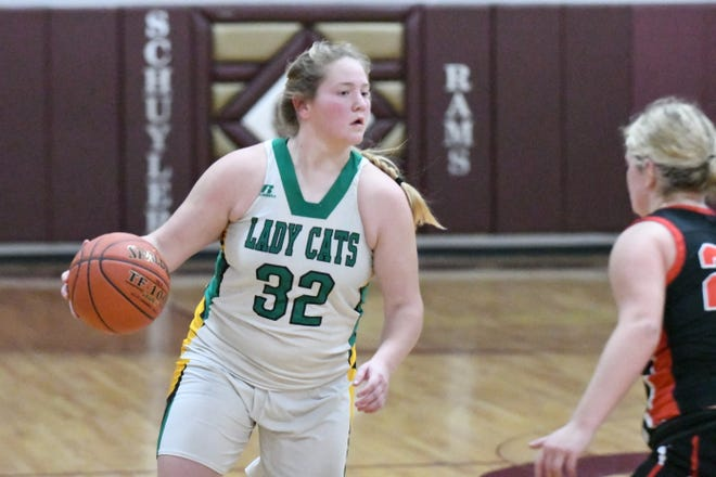 Milan's Cady Pauley leads her team up the floor during a Tri-Rivers Classic game against Knox County.