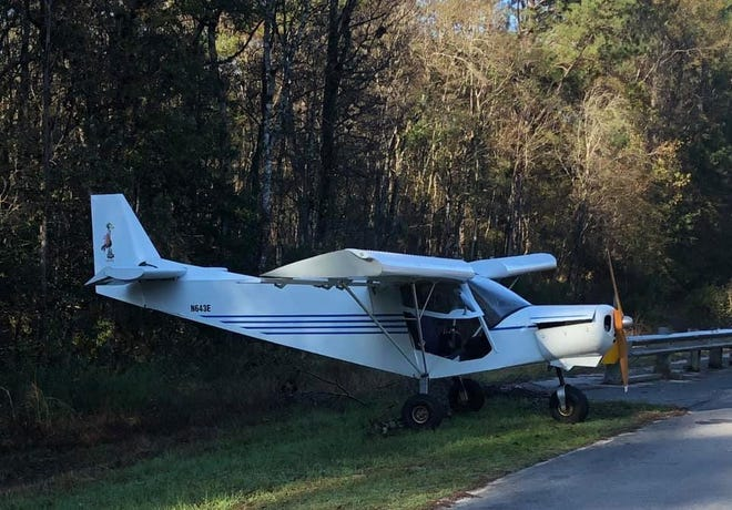The aircraft landed on County Road 180 at Looney Road north of Baker.