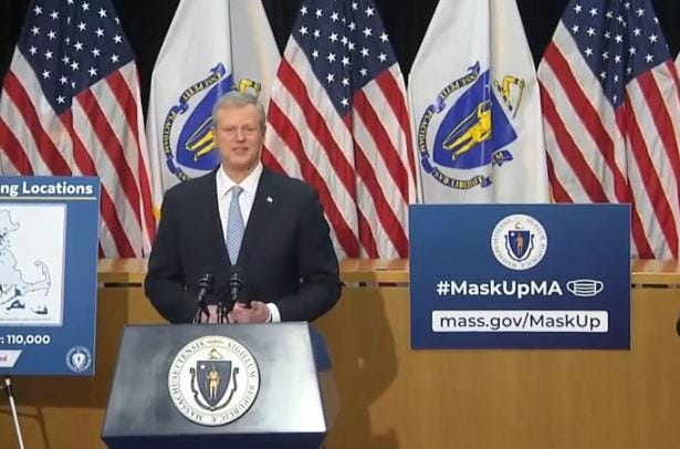 Gov. Charlie Baker, speaking during a press conference earlier this month, signed the policing reform law Thursday, Dec. 31.