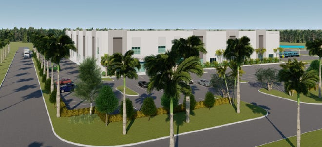 An artist's rendering of the two-story, 41-foot tall, 65,000-square-foot Amazon facility proposed near Boynton Beach.