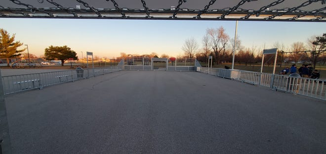 The Futsal court in Perry, one of 10 to be set up across the state of Iowa.