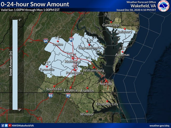 This image from the National Weather Service depicts the portions  of central and eastern Virginia that are expected to see snow beginning in the early morning hours Monday and continuing through most of the morning.