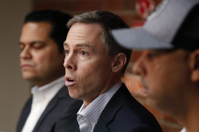 Red Sox general manager Brian O'Halloran, center, says conducting the Winter Meetings remotely is not ideal but he doesn't see it as an impediment to getting deals done.