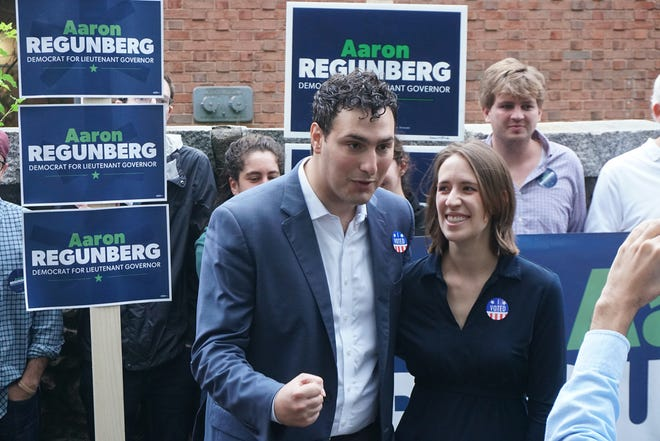 Aaron Regunberg campaigns after voting in September 2018 at the Martin Luther King Jr. Elementary School in Providence . [The Providence Journal, file / Sandor Bodo]