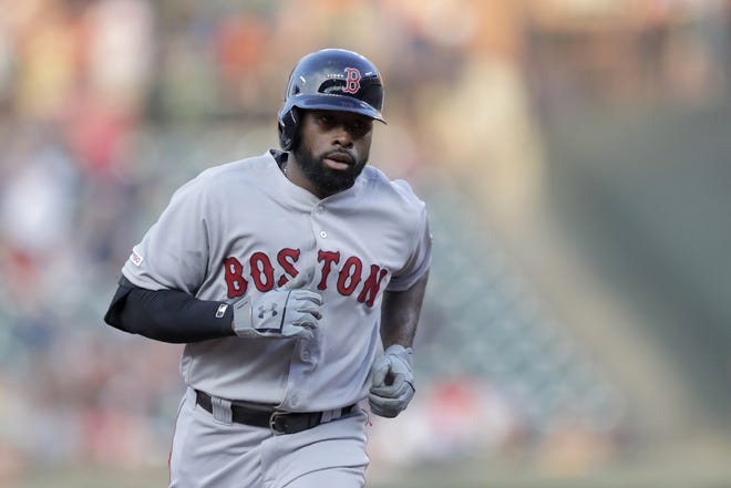 Jackie Bradley Jr. reportedly signed a two-year deal with the Brewers on March 4, 2021.