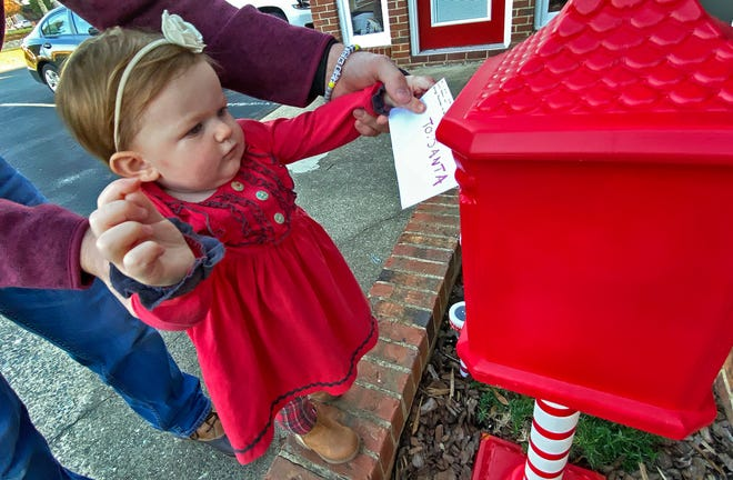 Mila Kate Wease, 1, sends her wish list to Santa through a mailbox located outside Jolly Realty Group in Kings Mountain.