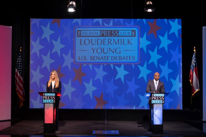 Sen. Kelly Loeffler, left, and Democratic challenger for U.S. Senate Raphael Warnock appear during a debate Sunday, Dec. 6, 2020, in Atlanta. (AP Photo/Ben Gray, Pool)