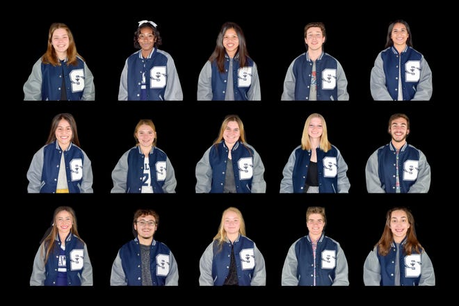 Academic Letter Jacket recipients are as follows: Top row, from left, Alethea Anderson, Josulyn Brooks, Cynthia Bui, Luke Cantrell and Kayla Casteel. Middle row, from left, Mio Dykstra, Kiera Gonzales, Paige Iddings, Ashli Johnson and Daniel King. Bottom row, from left, Bailee McIntosh, Zachary Pennington, Kylie Peters, William Stewart and Olivia Todd.