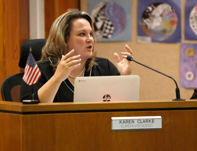Karen Clarke, the former superintendent for Alachua County Public Schools, speaks during a 2019 meeting.