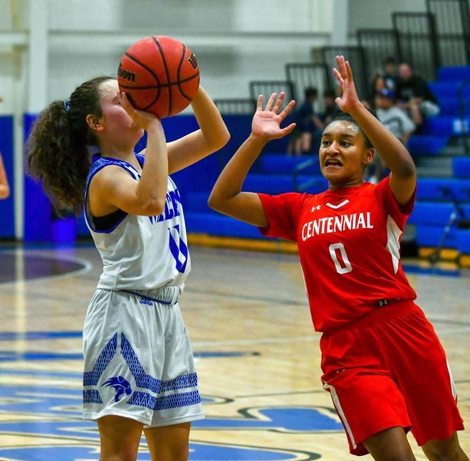 Pueblo Centennial's Tyjhanae Penny, right, goes up to defend Pueblo Central's MariAna Santistevan on Jan. 25, 2020, at Jim Ranson Court.