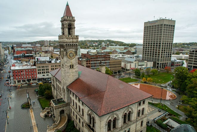 Worcester City Hall, the Worcester Common and Front Street are seen from the top of 507 Main St.