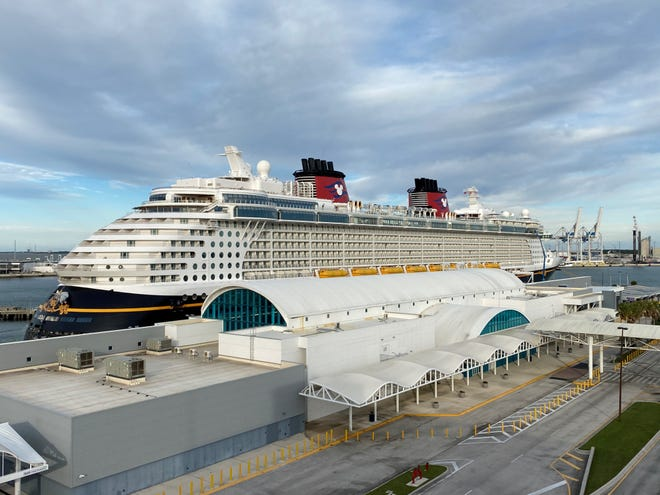 The Disney Wonder, with only its crew aboard, has occasionally stopped at Port Canaveral to take on fuel and supplies.