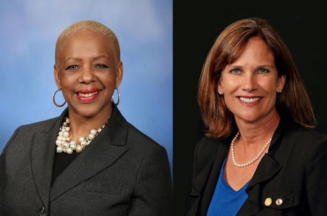 """State Rep. Cynthia Johnson, D-Detroit, left, and State Rep. Mary Whiteford, R-Casco Township. After Johnson shared threats she's received since a Dec. 2 House Oversight Committee hearing, Whiteford told Johnson she was """"shocked"""" by Johnson asking a witness to spell their name during the hearing."""