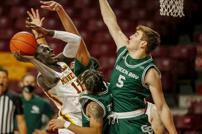 Former Green Bay Southwest guard Lucas Stieber (5) has been a key factor on defense for UWGB.