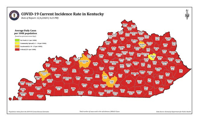 The COVID-19 current incidence rate map for the state of Kentucky as of Sunday, Dec. 6.