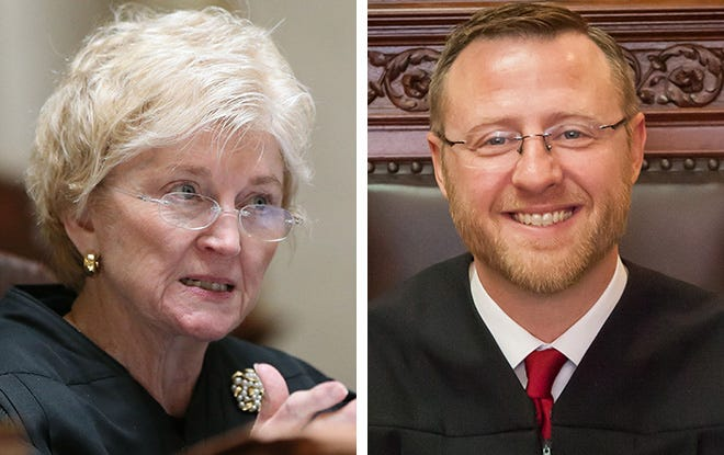 Wisconsin Supreme Court Chief Justice Patience Roggensack, left, and Justice Brian Hagedorn, right.