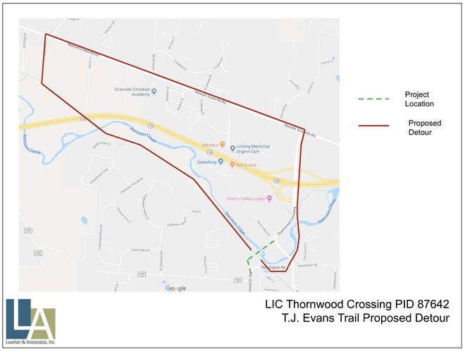 A proposed detour tied to a Newark project that would bring new traffic patterns, a new bridge and a roundabout to the Cherry Valley Road/Thornwood Crossing area.
