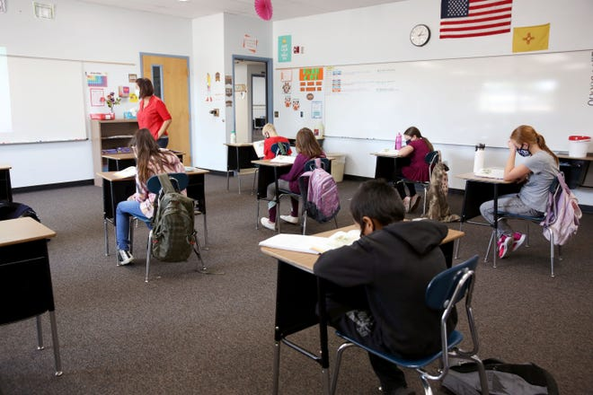 Aztec Municipal School District began hybrid instruction after Labor Day. Small groups of students come into Park Avenue Elementary for in-person instruction on Sept. 23, 2020.