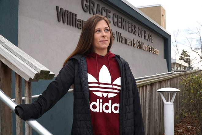 Garden City resident Ashley Ewing at a special place in her addiction recovery effort: Grace Centers of Hope in Pontiac.