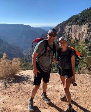 Luke Barnett and his daughter Annalee on the Arizona Trail near Flagstaff on Oct. 4, 2020.