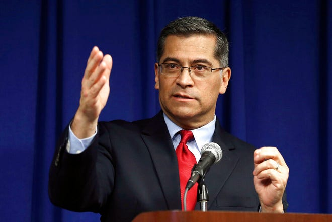 FILE - In this March 5, 2019, file photo, California Attorney General Xavier Becerra speaks during a news conference in Sacramento, Calif. President-elect Joe Biden has picked Becerra to be his health secretary, putting a defender of the Affordable Care Act in a leading role to oversee his administration's coronavirus response. (AP Photo/Rich Pedroncelli, File)