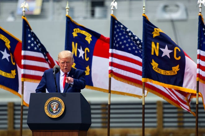 President Donald Trump speaks to a small crowd outside the USS North Carolina on Sept. 2, 2020 in Wilmington, North Carolina. (Photo by Melissa Sue Gerrits/Getty Images/TNS)