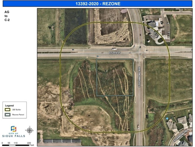 Area where a proposed new strip mall will be built after the owners applied for the land to be rezoned for commercial use.