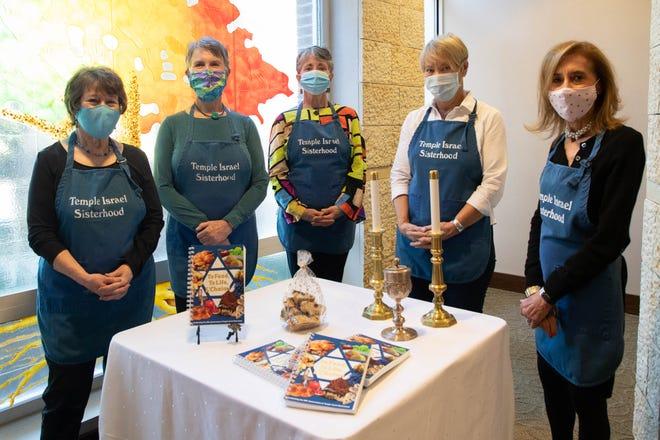 Temple Israel Sisterhood members from left: Sherrie Mendelson, Martha Billings, Joanna Novey, Lesley Mendelson and Susan Turner. Committee member Lisa Harris was not available for the photo.
