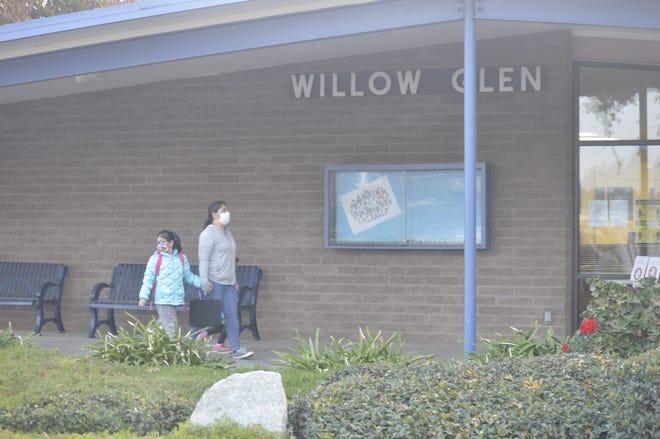 Willow Glen Elementary School students arrive on campus on Dec. 7, 2020 in Visalia.