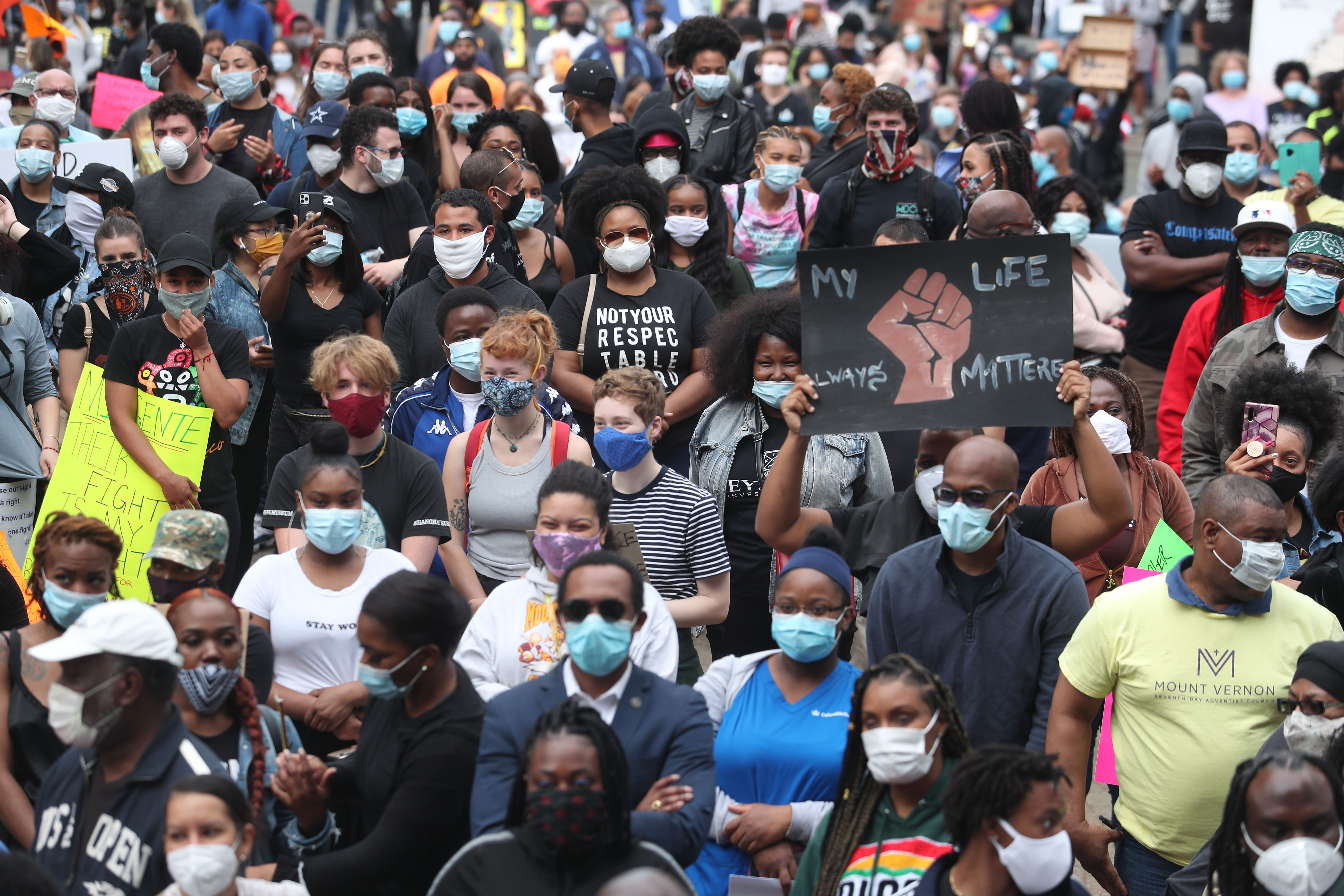 Hundreds of people gathered outside Mount Vernon City Hall during a peaceful We Can't Breath Unity Rally on June 2, 2020.