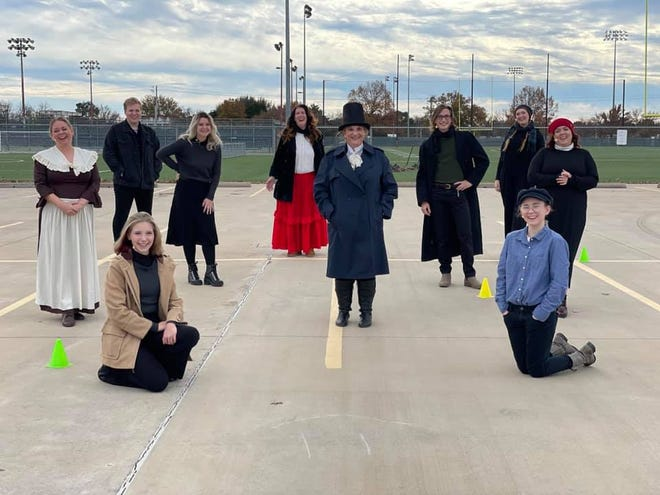 """The Fallstown Players performed an outdoor version of """"Scrooge's Christmas"""" and the audience watched from their vehicles with audio through the radio."""