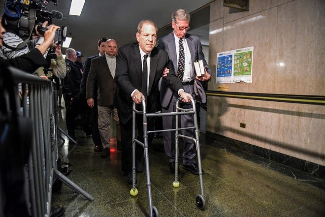 Harvey Weinstein walks to the courtroom in New York City Criminal Court on Jan. 6, 2020. Weinstein, a movie producer whose sexual misconduct led many women to share their experiences using the #MeToo hashtag, would be found guilty in February of rape and criminal sexual act.