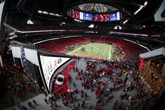A general view of Mercedes-Benz Stadium before the Southeastern Conference Championship game between Georgia and Alabama on Saturday, Dec. 1, 2018 in Atlanta. (AJ Reynolds for the Athens Banner-Herald)