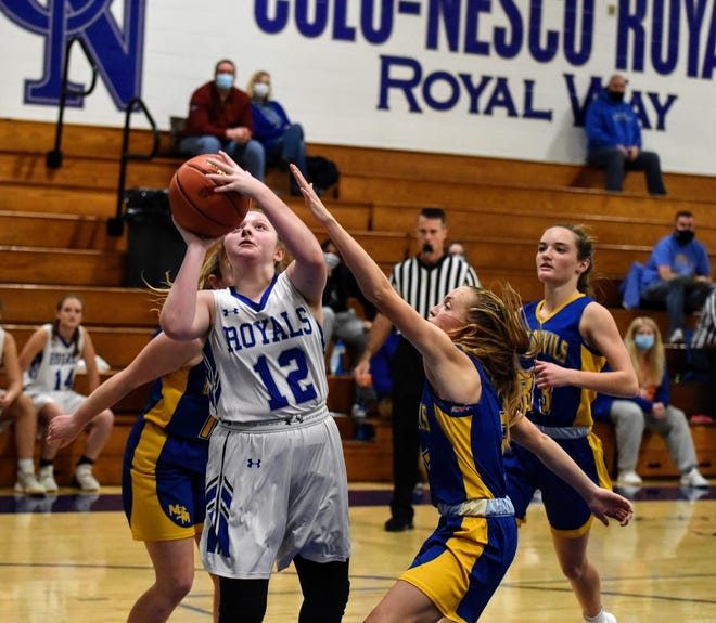 Jenna Banks had 24 points, six steals and five rebounds for the Colo-NESCO girls in a 46-35 victory over Martensdale St. Marys Monday at Colo. She has scored 41 points over her last two games for the Royals.