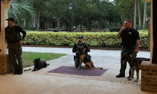 Several deputies took their K-9 officers to Sun City to allow those who donated to see what they helped purchase for the officers. Pictured from left are John Mitaly with K-9 Luna, Chad McDowell with K-9 Evo, and Brock Tomlin with K-9 Bear.