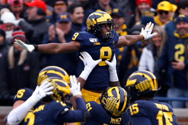 Michigan receiver Donovan Peoples-Jones celebrates a touchdown reception against Ohio State last year.
