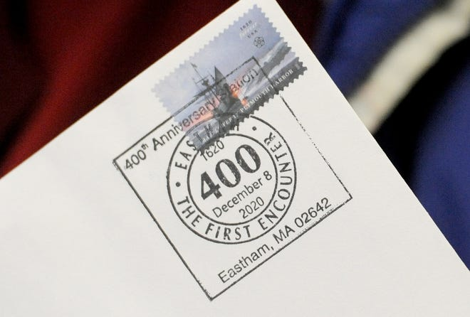 A thank you card bares a special postmark commemorating Eastham's 400th anniversary. The postmark will only be available at the Eastham Post Office in-person on Tuesday, but customers also have the option of applying for one by mail.