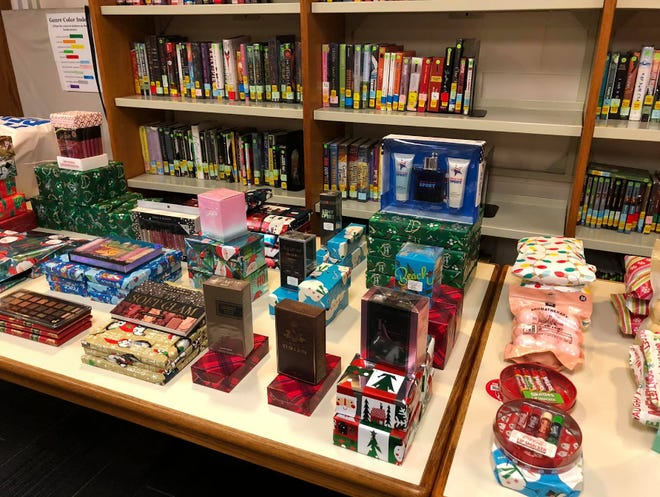 """Gift laid out on the table for students at Windy Hill Middle School's """"Wolfy's Winter Wonderland."""""""