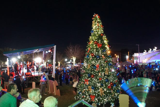 The Christmas tree is pictured at City Hall Park for Clermont's Light Up Clermont event in 2017