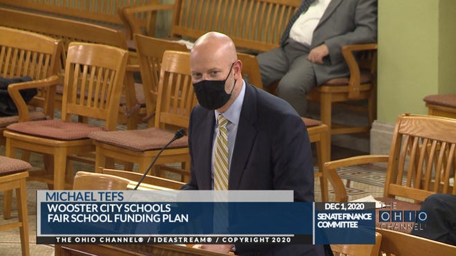 Wooster City Schools Superintendent Michael Tefs gives testimony on the Fair School Funding Plan in front of the Ohio Senate Finance Committee on Dec. 1, 2020.