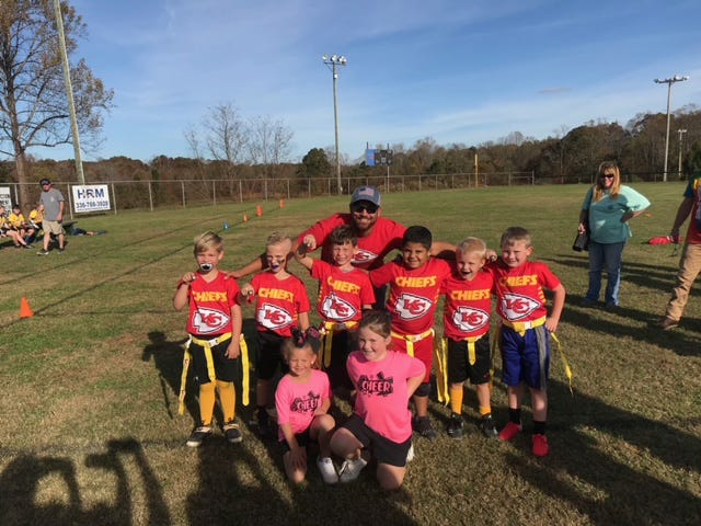 The South Davidson Chiefs won the 2020 Davidson County U6 flag football Super Bowl. Team members are (from left) coach Justin Davis, Hunter Leonard , Camden Cox, Gavin Davis, Ny Moore, Corbin Sweitzer and Chase Hull.