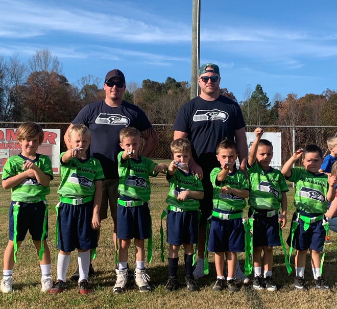 The U6 Friendship Seahawks were runners-up in the 2020 Davidson County Flag Football League. Team members are (front row, from left) Cam Brown, Carter Styers, Luke Harmon, Dalton Lambert, Parker Jamison, Casen Fournier, Asher Fournier; (back row) coaches Will Fournier and Jason Styers.