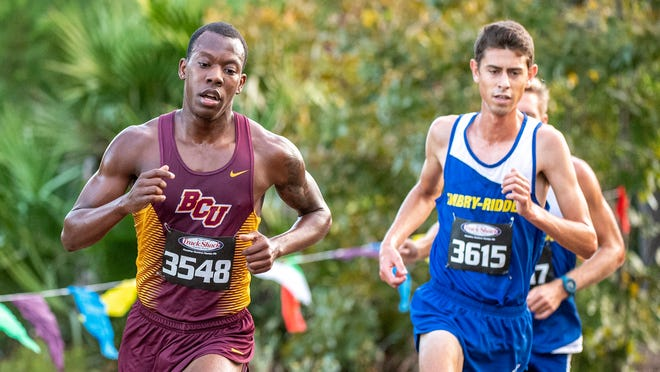 Carlin Berryhill of Bethune-Cookman, left, was one of eight Wildcats runners named to the Mid-Eastern Athletic conference's All-Time Cross Country teams in December 2020.
