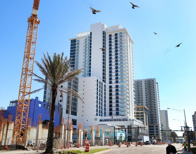 Work continues on Tuesday at the $192 million Protogroup twin-tower construction site in Daytona Beach. The city of Daytona Beach has granted an extension for completion of the project's South Tower, which now must be finished by March 18, 2022.