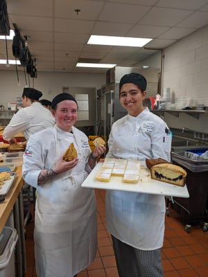 Geneva Warren (right) graduated from Hunter Huss High School after taking foods courses at the school's Career Academy. Now, she works at Webb Custom Kitchen in Gastonia and studies culinary arts at Central Piedmont Community College.