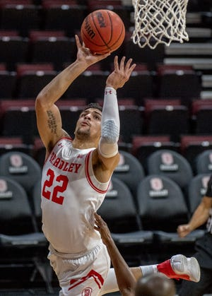 Bradley's Ja'Shon Henry moves to the basket against Lewis on Monday, Dec. 7, 2020 at Carver Arena. Bradley defeated Lewis 95-62.