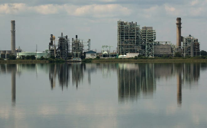 Lakeland Electric's McIntosh Power Plant, looking north from the southeast shore of Lake Parker.