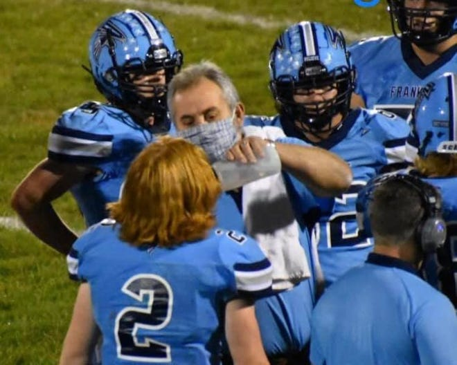 Leo Day is shown serving as Frankfort's water boy during the 2020 season, a role he performed for nearly 20 years. In addition, Day served as an officer in the Frankfort Athletic Booster Club for 20 years as well.