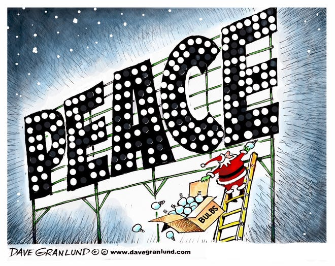 Dave Granlund cartoon of Santa spelling peace with lights