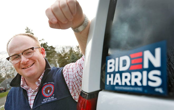 Presidential elector Joe Kelly of Hingham on Tuesday December 8, 2020 Greg Derr/The Patriot Ledger